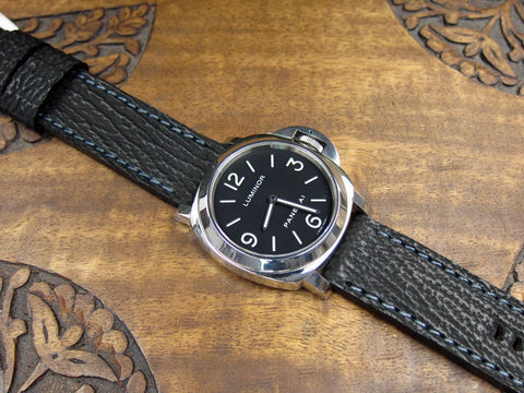Reef black custom shark watch band with Panerai 112
