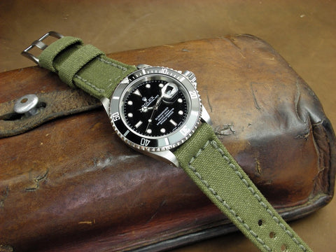 Rolled American Canvas handcrafted watch band on Rolex Submariner