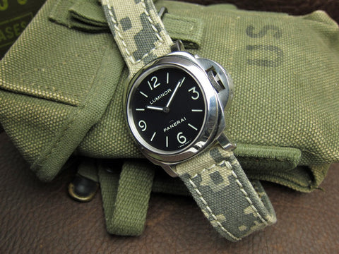 Rolled Army Digi-Camo bespoke canvas watch strap on Panerai Luminor