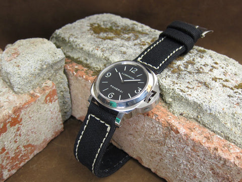 Rolled Black Canvas handcrafted watch strap on PAM112 Luminor