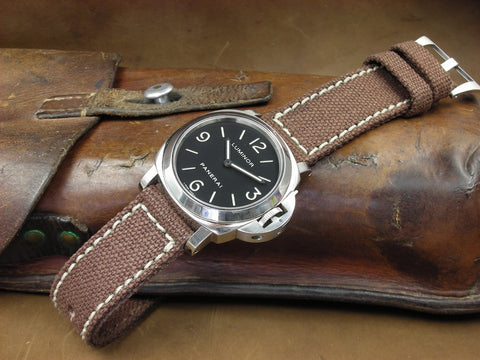 Rolled Brown Canvas custom watch strap on Panerai