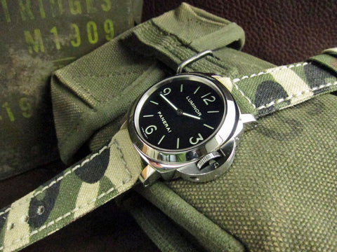 Rolled Classic Camo handcrafted watch strap on Panerai Luminor 112