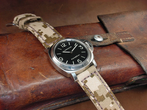 Rolled Digi-Camo handmade canvas watch strap on PAM112 Luminor