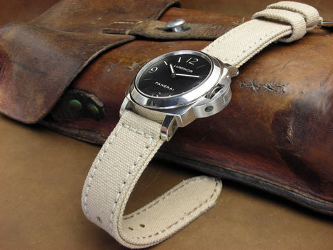 Rolled Tan Canvas handcrafted watch strap on Panerai Luminor