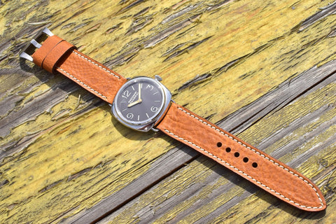 Saddle leather watch strap