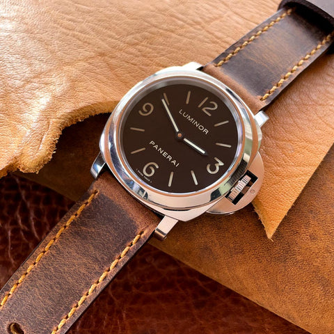 Sentinel Gold Leather Watch Strap