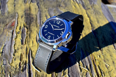 Slate leather watch strap
