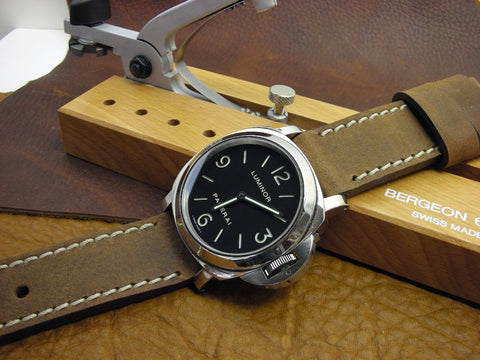 Terra handcrafted leather watch band on Luminor PAM112