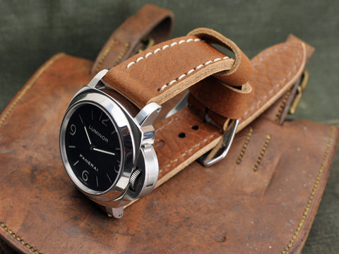 Wicket vintage style leather watch strap with Panerai 112 Luminor