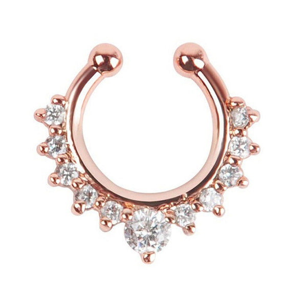 11 Crystal Metal Hoop Nose Ring Faux Septum