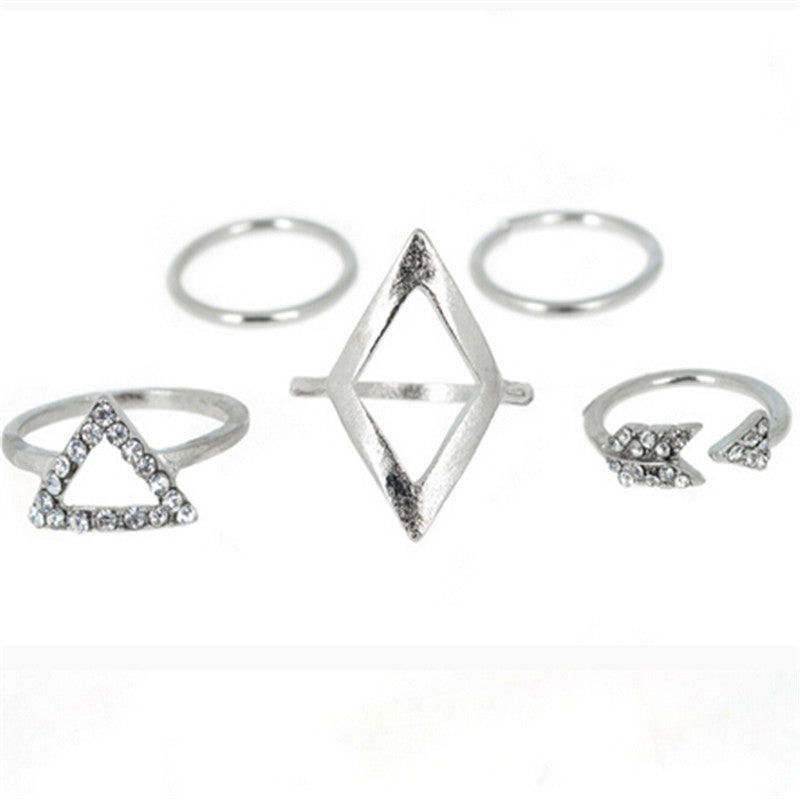 5pcs Ring Set Stacking Geometric Midi Crystal Rings