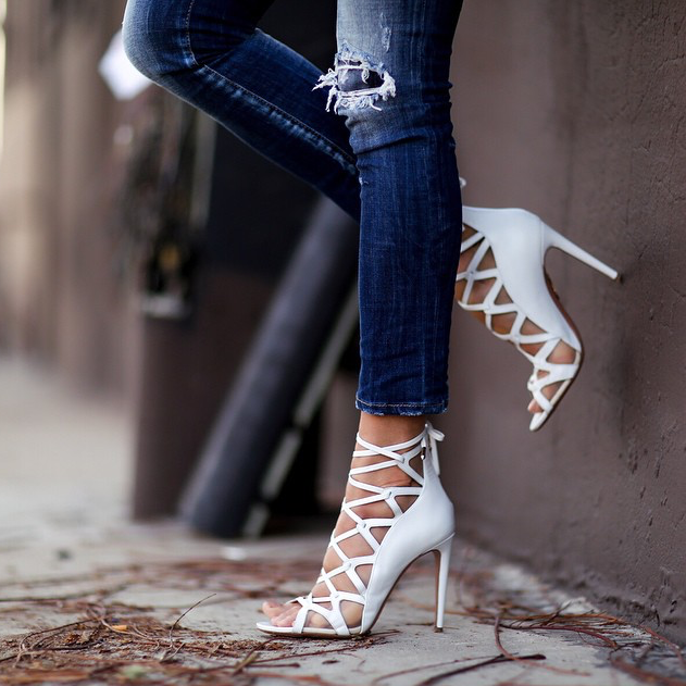 Anisa White Leather Caged Sandals