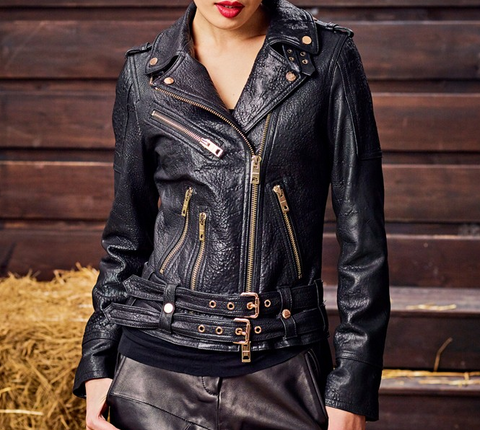 Slay Accessories. Black textured leather motorcycle jacket with gold hardware.
