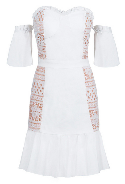 Rios Lace White Off Shoulder Dress