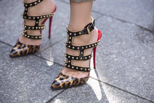 Betsy Leopard Patent Leather Studded Pumps