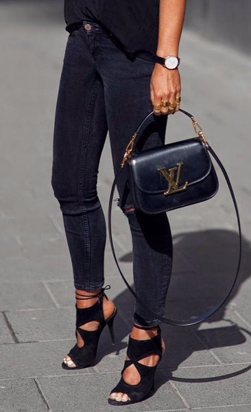 Court Cut Out Black Suede Sandals