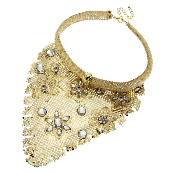 Gold Metal Crystal Bib Collar Choker Necklace Fashion Pendant