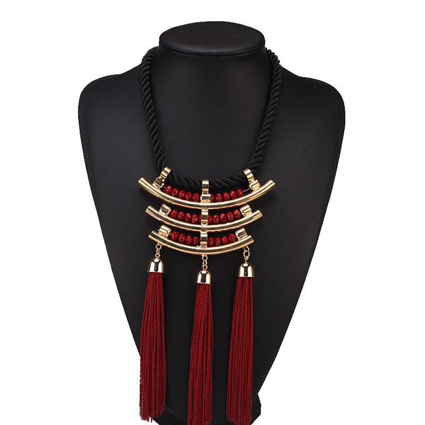 Rope Chain Collar Tassel Bib Choker Metal Pendant Statement Necklace