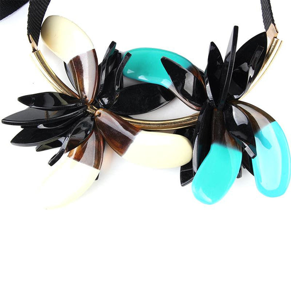 Petals Pendant Multi Color Collar Choker Ribbon Chain Statement Necklace