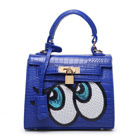 Sequin Eyes Crocodile Embossed Messenger Bag with Lock and Key