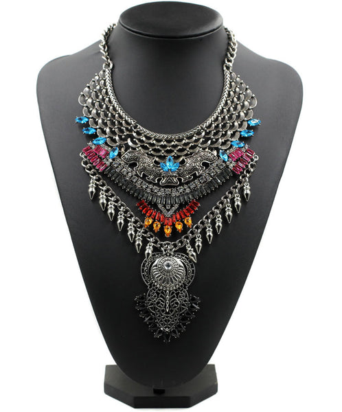 Statement Chunky Metal Chain Collar Pendant Necklace Multi Color Crystals
