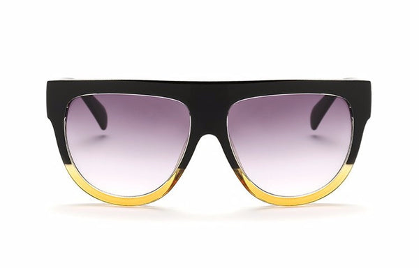 Fashion Flat Top Oversized Sunglasses Rivet Style Big Frames