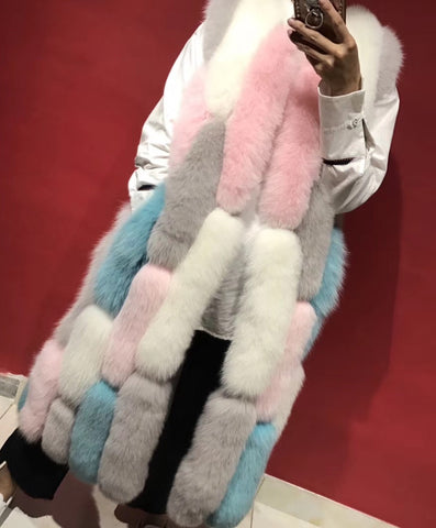 Slay Accessories. Long fur vest with colorful patch design.