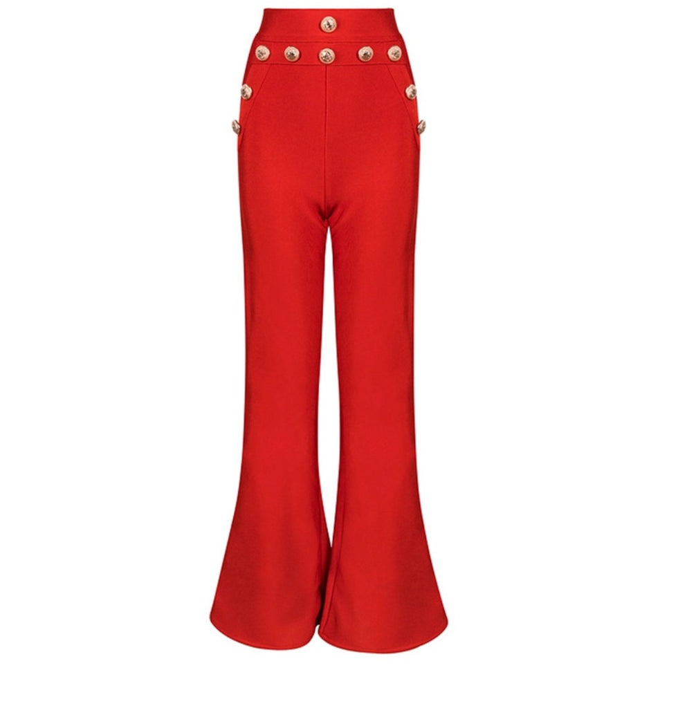 Slay Accessories. Red Bandage flare leg pants.