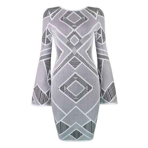 Slay Accessories. Geometric Bandage dress with bell sleeves.