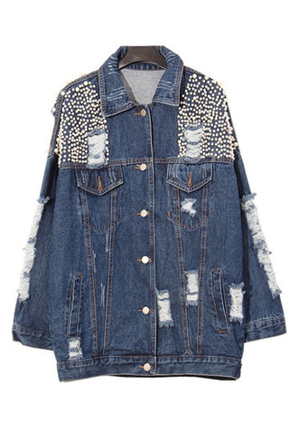Slay Accessories. Denim pearl embellished denim jacket.