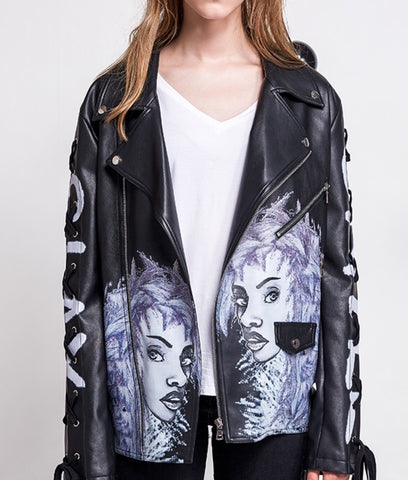 Everyday Vegan Leather Graffiti Jacket