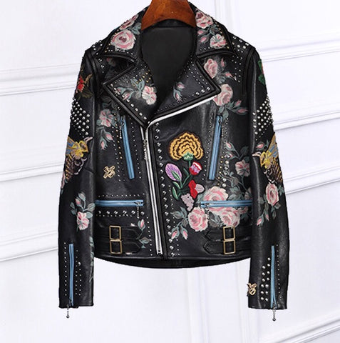 Sese Vegan Leather Embellished Jacket
