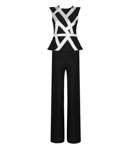 Slay Accessories. Black and white bandage pants set.