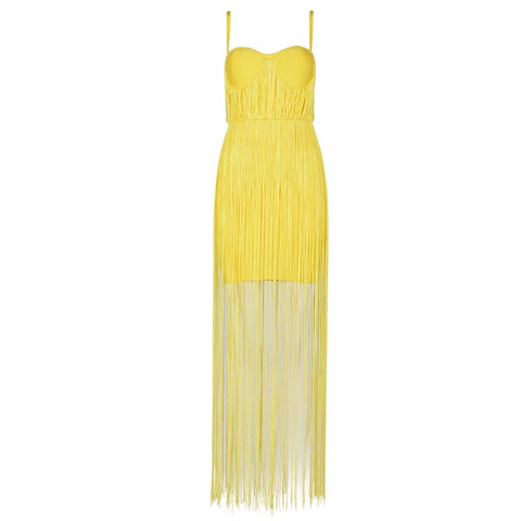 Slay Accessories. Yellow fringe bandage maxi dress.