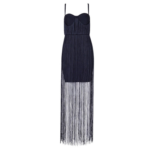 Slay Accessories. Black fringe bandage maxi dress.