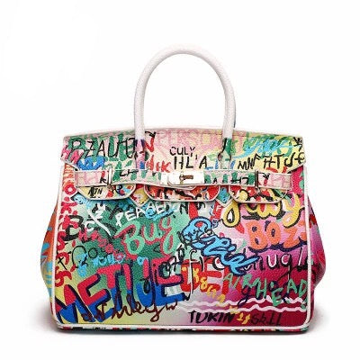 Slay Accessories. Grafitti art birkin style handbag.