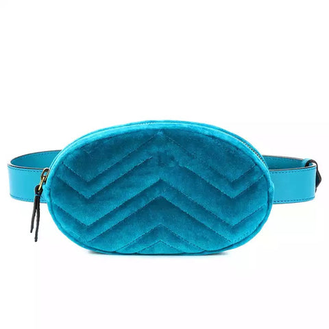 Slay Accessories. Blue velvet fashion fanny pack, waist bag.