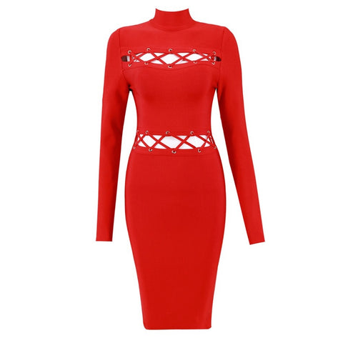 Slay Accessories. Red bandage dress with long sleeves and lattice details.