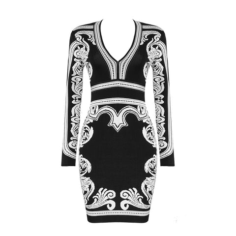 Slay Accessories. Black and white printed bandage mini dress. Long sleeves.