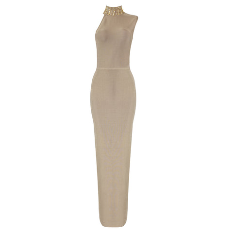 Slay Accessories gold champagne bandage maxi dress.