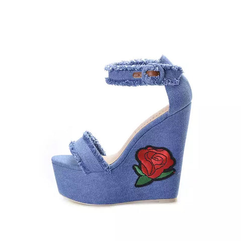 Slay Accessories. Denim distressed platform wedge sandals.