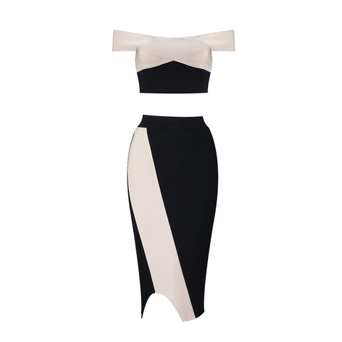 Desiree Bandage Black and White Midi Skirt Set