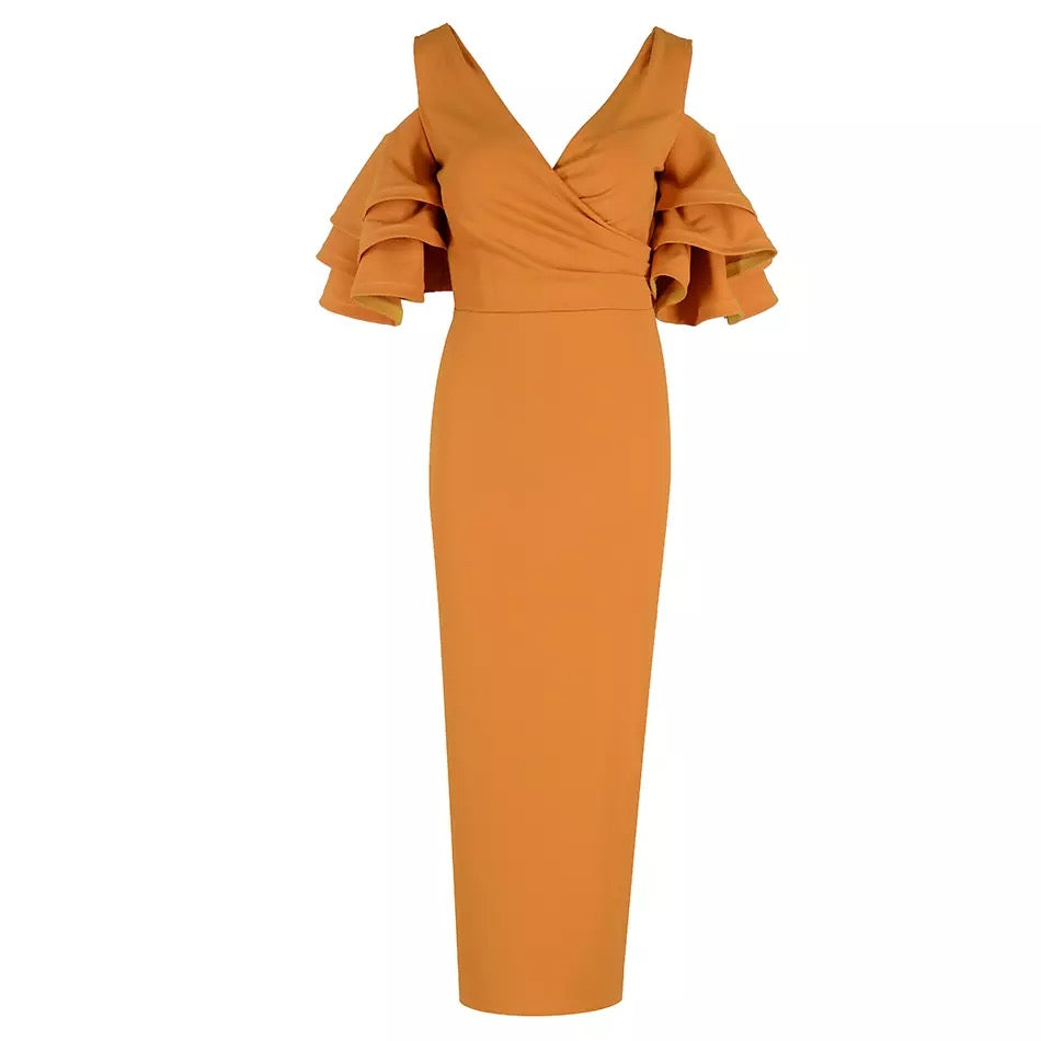 Dee Rust Orange Ruffle Bodycon Midi Dress