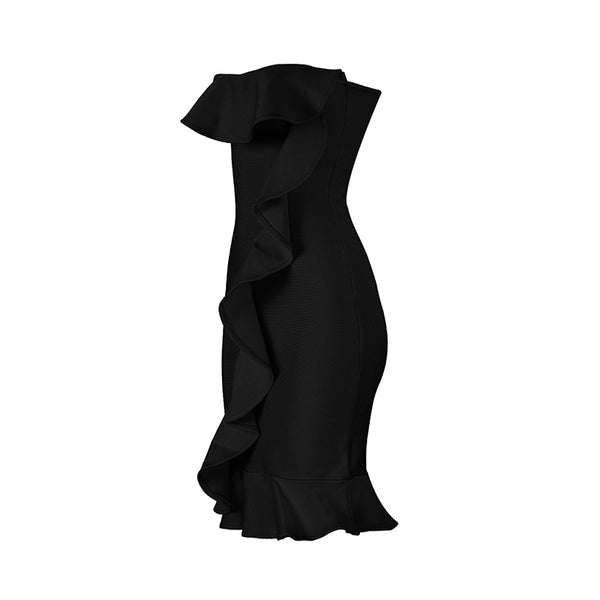 Gotcha Black Ruffle Bandage Dress
