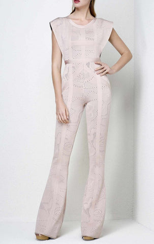 Slay Accessories blush textured bandage jumpsuit. Bandage flare leg jumpsuit.