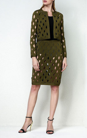 Slay Accessories. Olive bandage jacquard skirt set. Cut out pencil skirt and crop jacket.