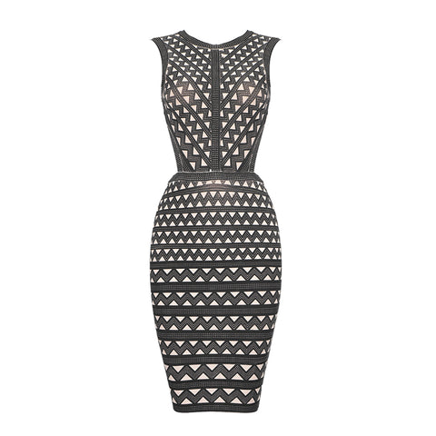 Slay Accessories. Geometric print bandage dress.
