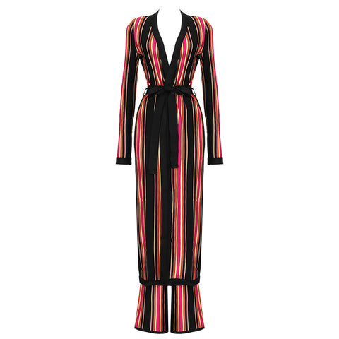 Slay Accessories. Long striped bandage cardigan with matching bandage flare leg pant.