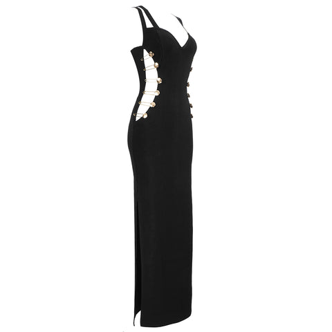 Slay Accessories. Black bandage maxi dress with cut out sides and gold buttons.