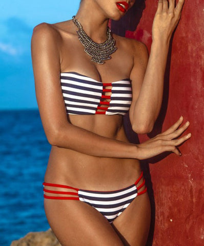 Jai Red White and Blue Striped Bikini